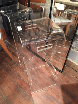 I spotted these sleek lucite bar stools at Bobo Intriguing Objects, part of their new product line.