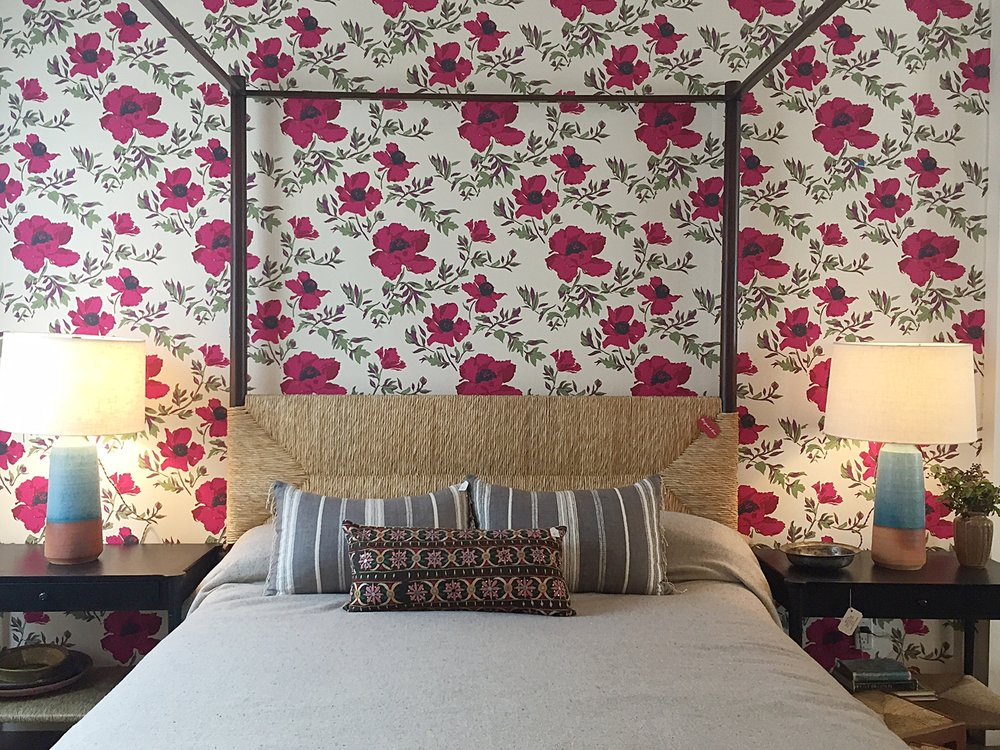 I love the combination of pattern and textiles in this bedroom design by  Hollywood at Home